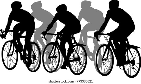 vector illustration of silhouette cyclist on white background