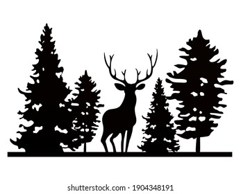 Vector illustration of a silhouette of a deer and trees.
