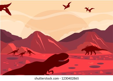 Vector illustration of silhouette of dinosaurs on the Jurassic period landscape