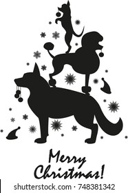 Vector illustration: silhouette of dogs (German shepherd, poodle, Chihuahua) in the form of a Christmas tree with snowflakes. New year 2018 Chinese calendar year of the dog. Festive black&white image.