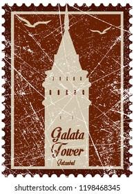 Vector illustration and silhouette drawing Galata Tower, Istanbul, Turkey - vintage. Beyoglu-Bosphorus-Constantinopolis-Karakoy