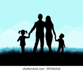 Vector illustration of a silhouette of a family