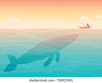 Vector illustration with silhouette of fisherman in the boat above big whale on a blue sea.