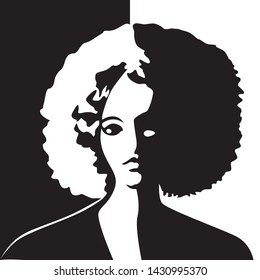 Vector illustration of a silhouette of a girl with lush curly hair. Black and white retro style. Vintage picture of man female style.