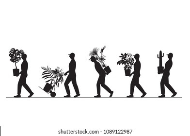 vector illustration silhouette of a group of workers carrying houseplants in pots, moving to a new house, moving office, courier delivery