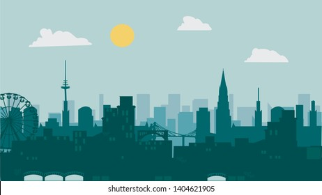 Vector Illustration of Silhouette Hamburg City of Germany in Flat Design.
