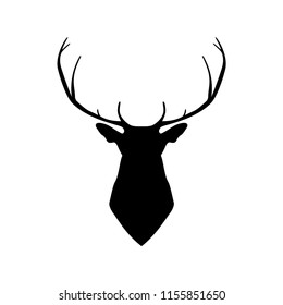 vector illustration of silhouette of a head deer in black color