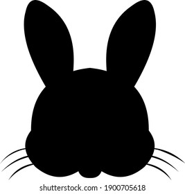 Vector illustration of the silhouette of the head of a rabbit