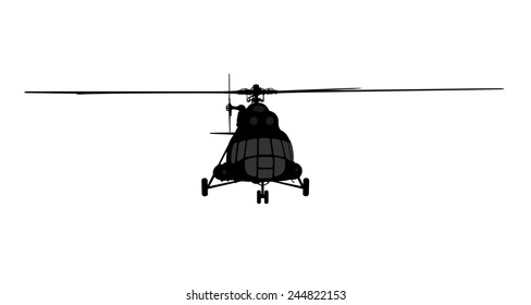 Vector illustration the silhouette of the helicopter.