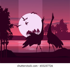Vector illustration of a silhouette of a heron bird on the background of a river at sunrise