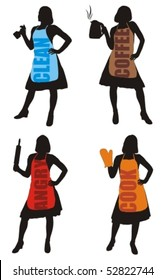 Vector illustration of silhouette housewife with apron and household accessories.
