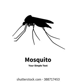 Vector illustration silhouette of an insect. The mosquito icon, gnat, blood-sucking animal. Isolated on white background. Mosquito logo side view profile.