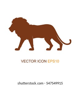 Vector illustration with a silhouette of a lion on a white background. Lion profile side view. Silhouette of a lion. Logo. Vector illustration.