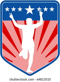 vector illustration of a silhouette of Marathon runner flashing victory sign done in retro style with  stars sunburst and stripes in shield