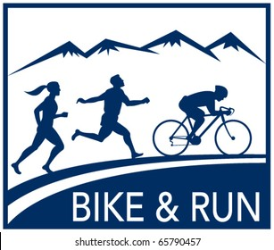 vector illustration of a silhouette of marathon runner and cyclist  race with mountains and words bike and run done in retro style