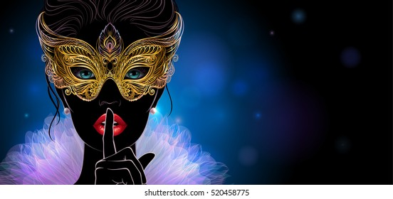 Vector Illustration. A silhouette of mysterious lady in golden carnival mask put a finger on lips in a hush gesture. Beautiful concept design for greeting card, party invitation, banner or flyer.