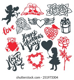A vector illustration of silhouette or paper cut style valentine's day design elements. This set include symbols like cupid, flowers, heart and more. Ideal for valentine's day theme projects.