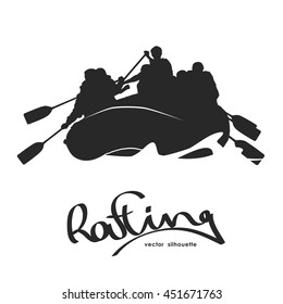 Vector illustration: Silhouette of rafting team on river