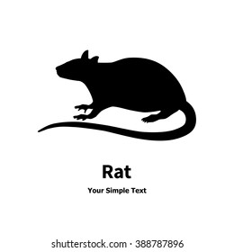 Vector illustration of a silhouette of the rat. The carrier of the disease. Drawing, picture isolated on white background. Side view, profile. Logo icon rat.