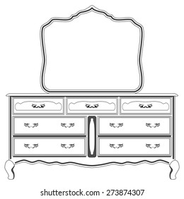 Vector illustration of silhouette of retro dressing console and mirror in old style, isolated black and white