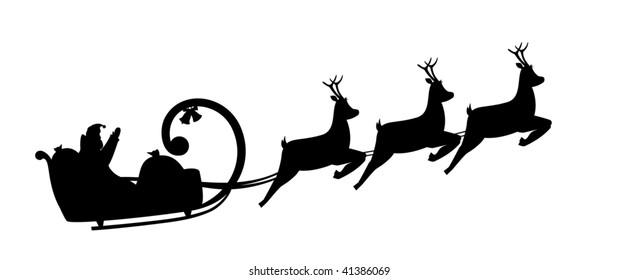 Vector illustration silhouette Santa Claus drives in a sleigh
