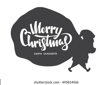 Vector illustration: Silhouette of Santa Claus carries a heavy sack  full of gifts on white background.