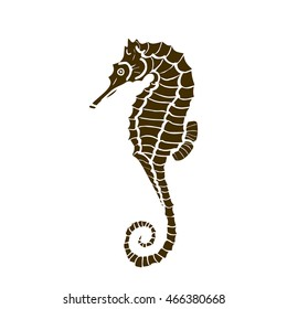 vector illustration of silhouette of seahorse. Seahorse  made in one color under the stencil. hippocampus