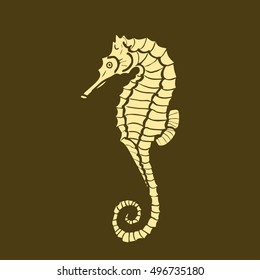vector illustration silhouette of seahorse. Seahorse made in one color under the stencil. hippocampus