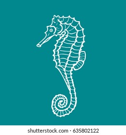 vector illustration silhouette of seahorse on aquamarine background. Hippocampus