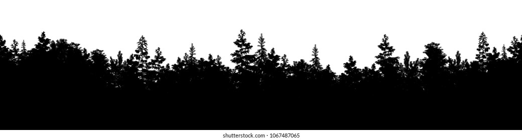 Vector illustration, silhouette seamless forest panorama with coniferous trees. Detailed fir alpine background