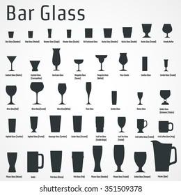 Vector Illustration of silhouette Set of Bar Glass  for Design, Website, Background, Banner. Restaurant Element Isolated Template for Menu. Vodka, Beer, Whiskey, Wine for Infographic
