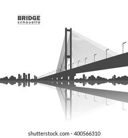 Vector illustration: Silhouette of South Bridge. Kiev