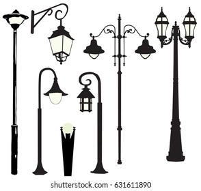Vector, illustration, silhouette of street lamps
