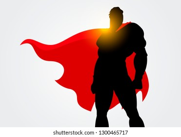 Vector Illustration Silhouette of a Superhero with red Cape posing