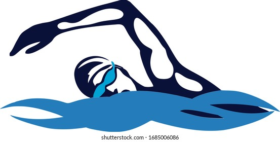 Vector illustration silhouette swimmer. Swimming competition.