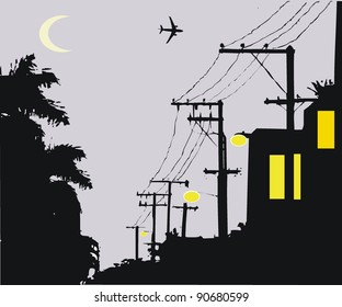 Vector illustration of silhouette telephone poles at night.