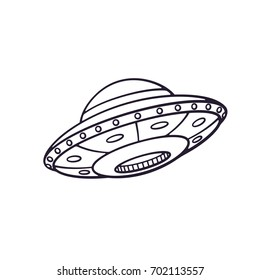 Vector illustration. Silhouette of toy UFO space ship. Alien space ship. Futuristic unknown flying object. Isolated  pattern on white background