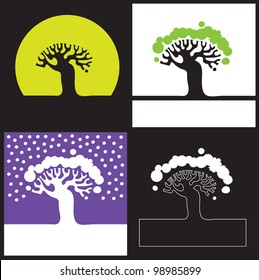 Vector illustration. Silhouette of a tree - four options / Silhouette of a tree