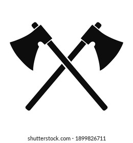 Vector illustration silhouette of two axes crossing each others isolated on white