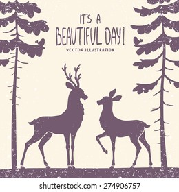 vector illustration silhouette of two beautiful deer in a pine forest