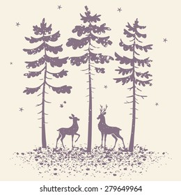 vector illustration silhouette of two beautiful deer in a pine forest in grunge style