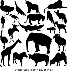 Vector illustration in silhouette of various wild animals