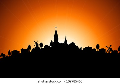 Vector illustration - silhouette of village with church at sunset