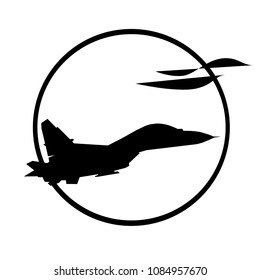 vector illustration of the silhouette of the warplane as logo on white background