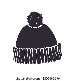 c7753e641c0 Vector illustration. Silhouette of winter hat with pompon. Christmas  headdress made of wool for