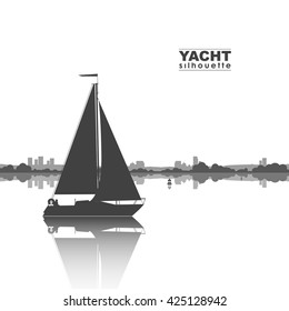 Vector illustration: Silhouette of yacht and the city on the horizon