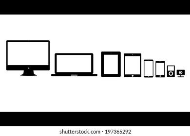 vector illustration silhouettes black gadgets