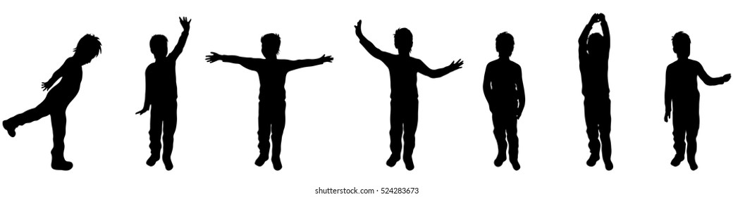 Vector illustration silhouettes of boy on white background