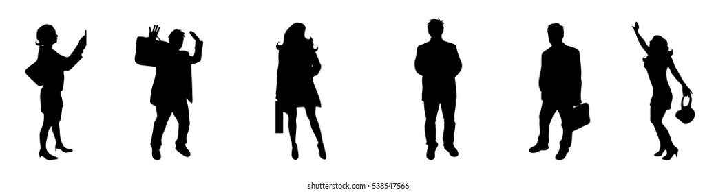 Vector illustration silhouettes business people on white background