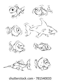 Vector illustration of silhouettes of cartoon fishes